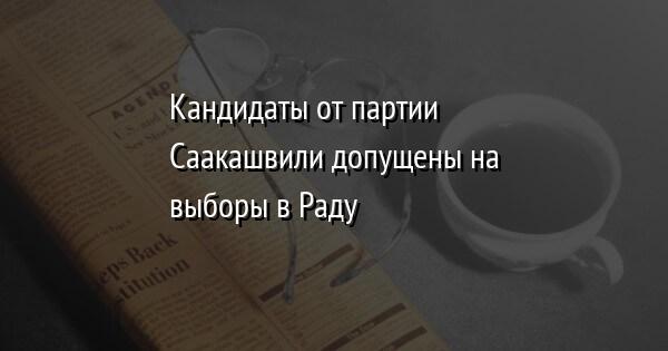 Кандидаты от партии Саакашвили допущены на выборы в Раду