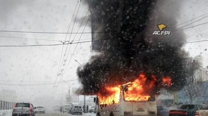 Пассажирский автобус сгорел в Новосибирске