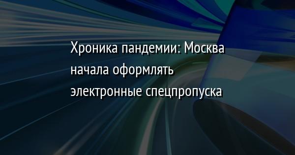 Хроника пандемии: Москва начала оформлять электронные спецпропуска