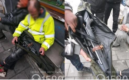 По Львову разгуливал бомж с винтовкой (фото)