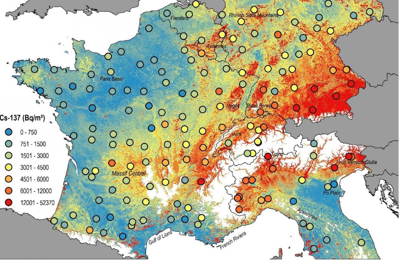 Составлена карта загрязнения Европы ядерными взрывами и радиационными авариями (фото)