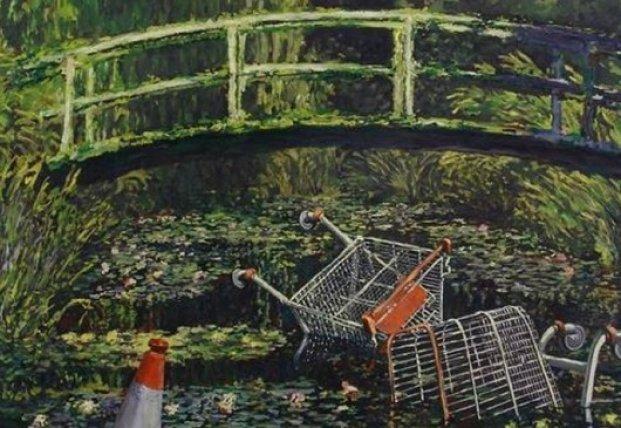 Картина уличного художника Бэнкси с тележками из супермаркета продана почти за $10 млн