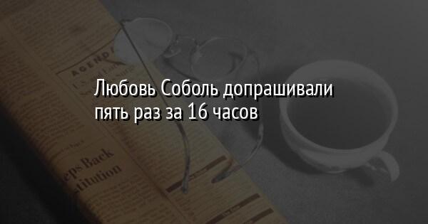 Любовь Соболь допрашивали пять раз за 16 часов